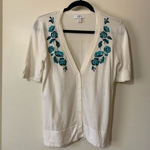 Loft cream button up with embroidered flowers
